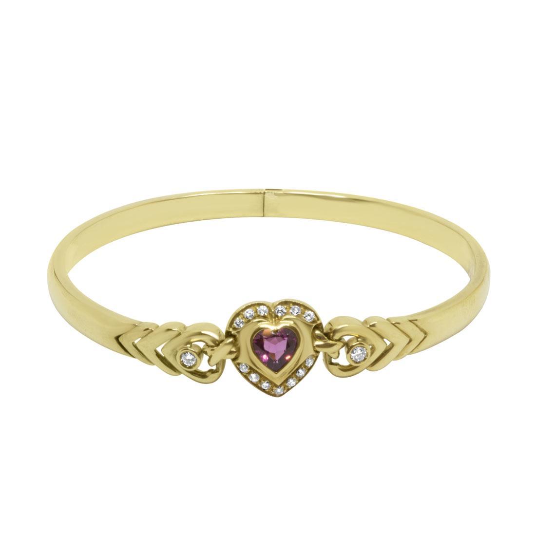 Bracciale rigido in oro giallo con diamanti e pietra rossa - ORO&CO