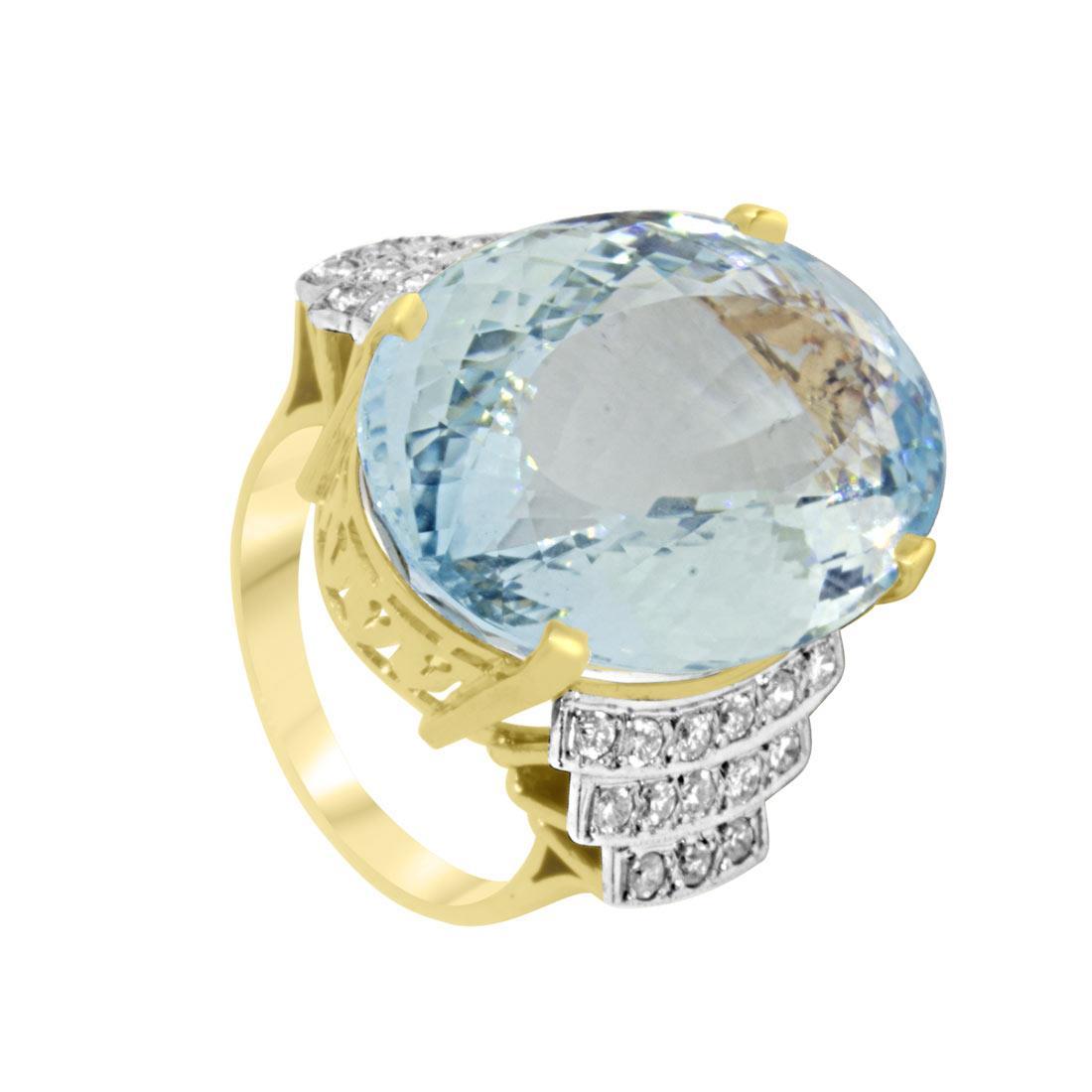 Anello in oro giallo con diamanti ct 0.90 e pietra azzurra, misura 14 - ORO&CO