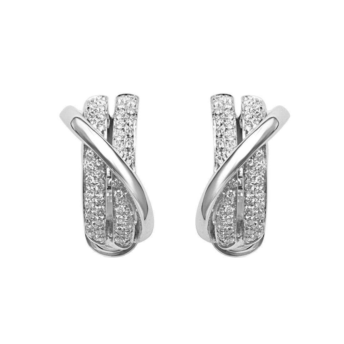 Orecchini in oro bianco design con pavé di diamanti  - ORO&CO