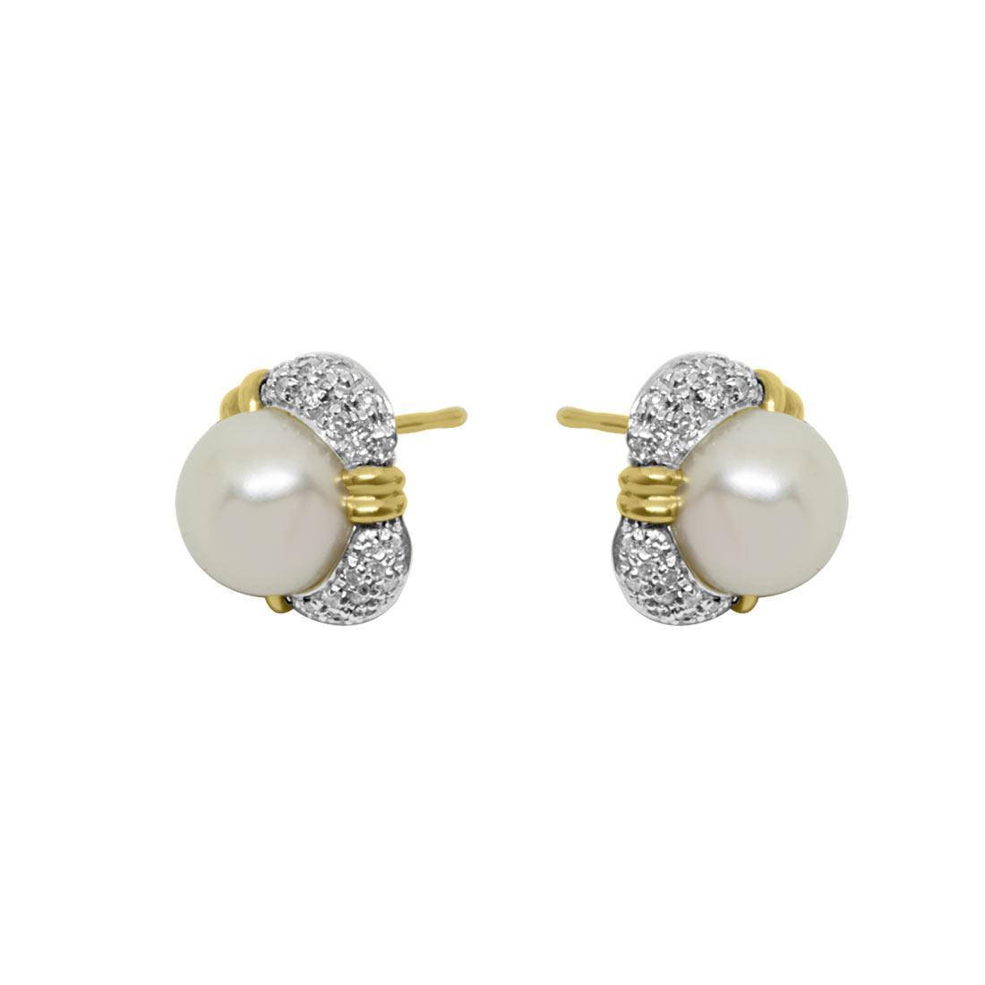 Orecchini in oro giallo con pavé di diamanti e perle - ORO&CO