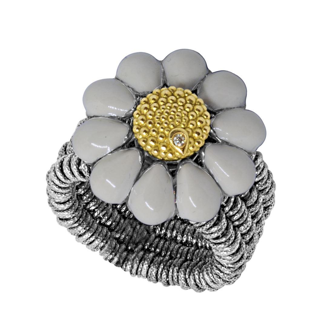 Anello semirigido  in argento con diamante 0.01 ct, misura regolabile - ROBERTO DEMEGLIO