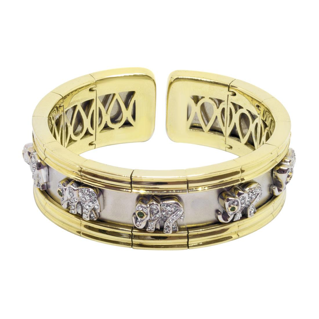 Bracciale semirigido in oro giallo e bianco con diamanti e smeraldi - ORO&CO