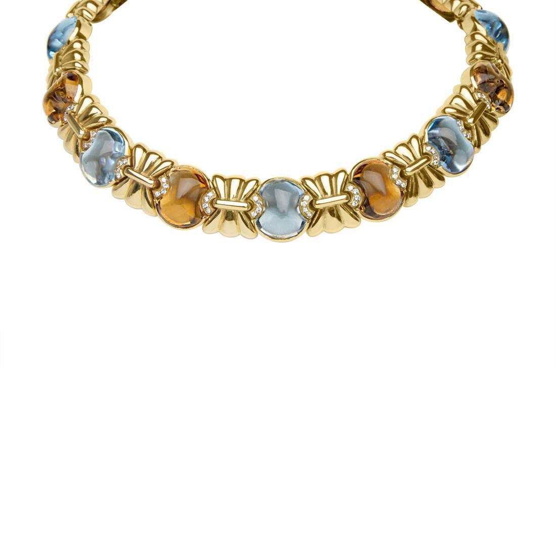 Collana in oro giallo con diamanti ct 1.72 e pietre - ORO&CO