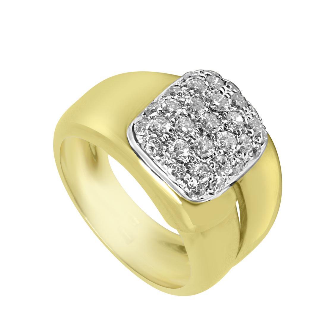 Anello Oro & Co in oro bianco e giallo con diamanti ct 1,55 colore G e purezza SI misura 15 - ORO&CO