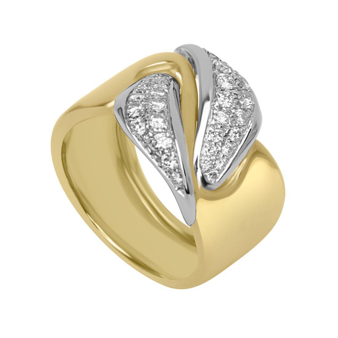 Anello in oro giallo e bianco con pavé di diamanti mis 13 - ORO&CO