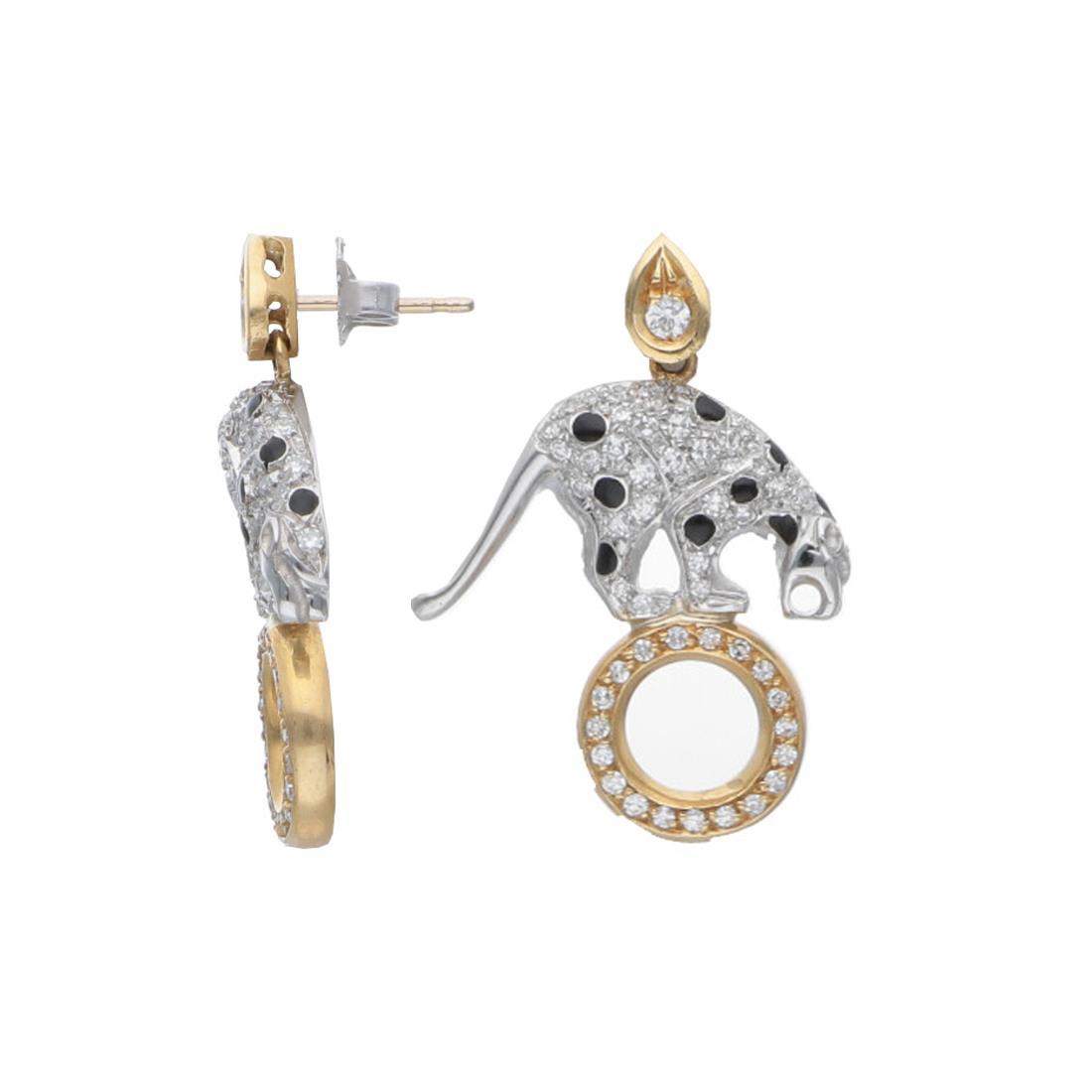 Orecchini in oro bianco e giallo con diamanti - ORO&CO