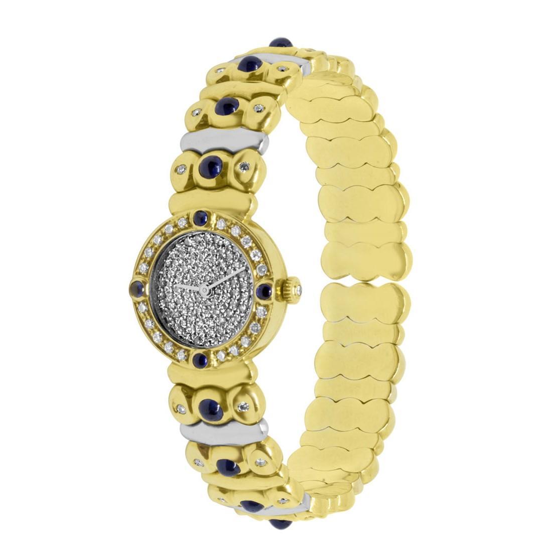 Orologio in oro giallo e bianco con pietre bianche e blu - ORO&CO