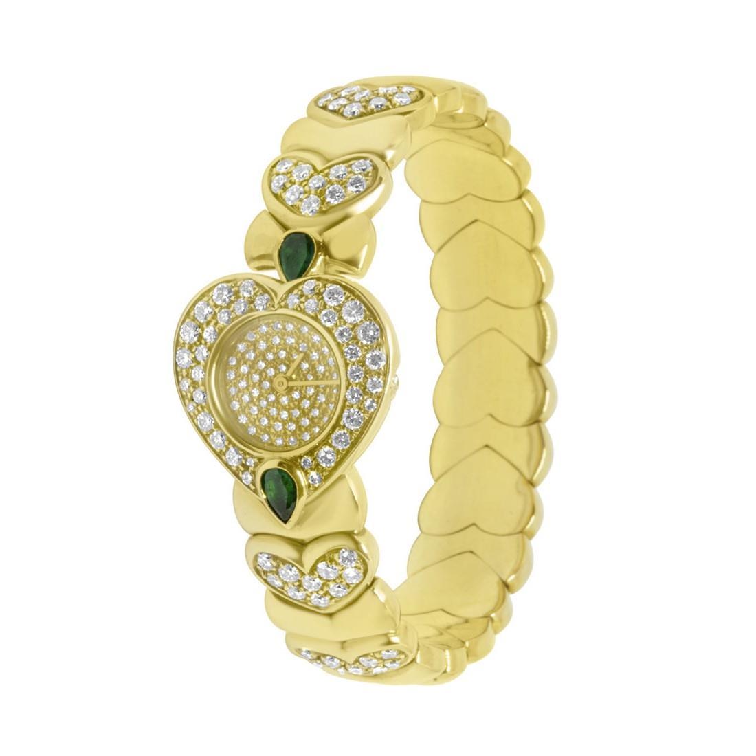Orologio Oro & Co, quadrante a cuore con pavé in oro giallo con pietre bianche e verdi - ORO&CO