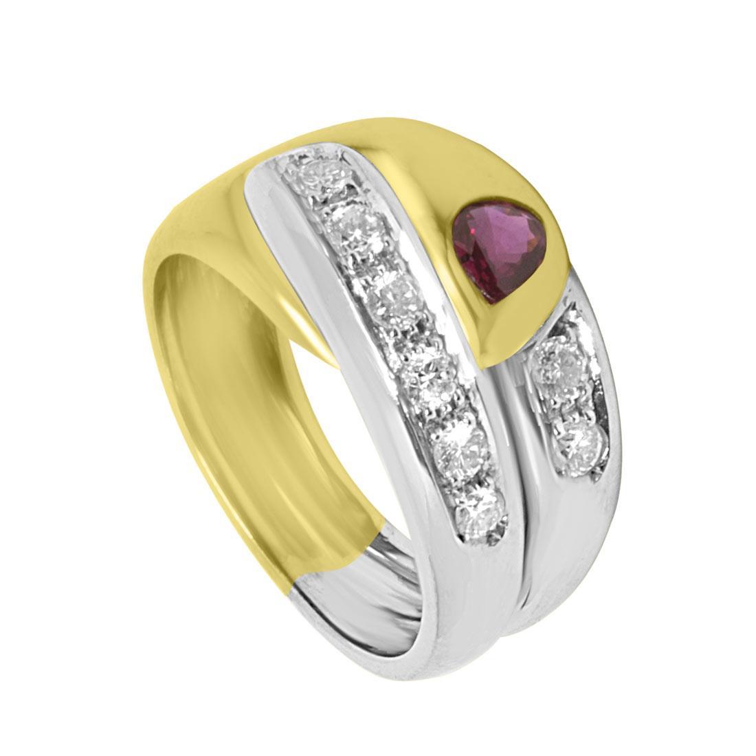 Anello Oro & Co in oro giallo con diamanti ct 0,45 colore G, purezza SI e rubino ct 0,26 misura 13 - ORO&CO
