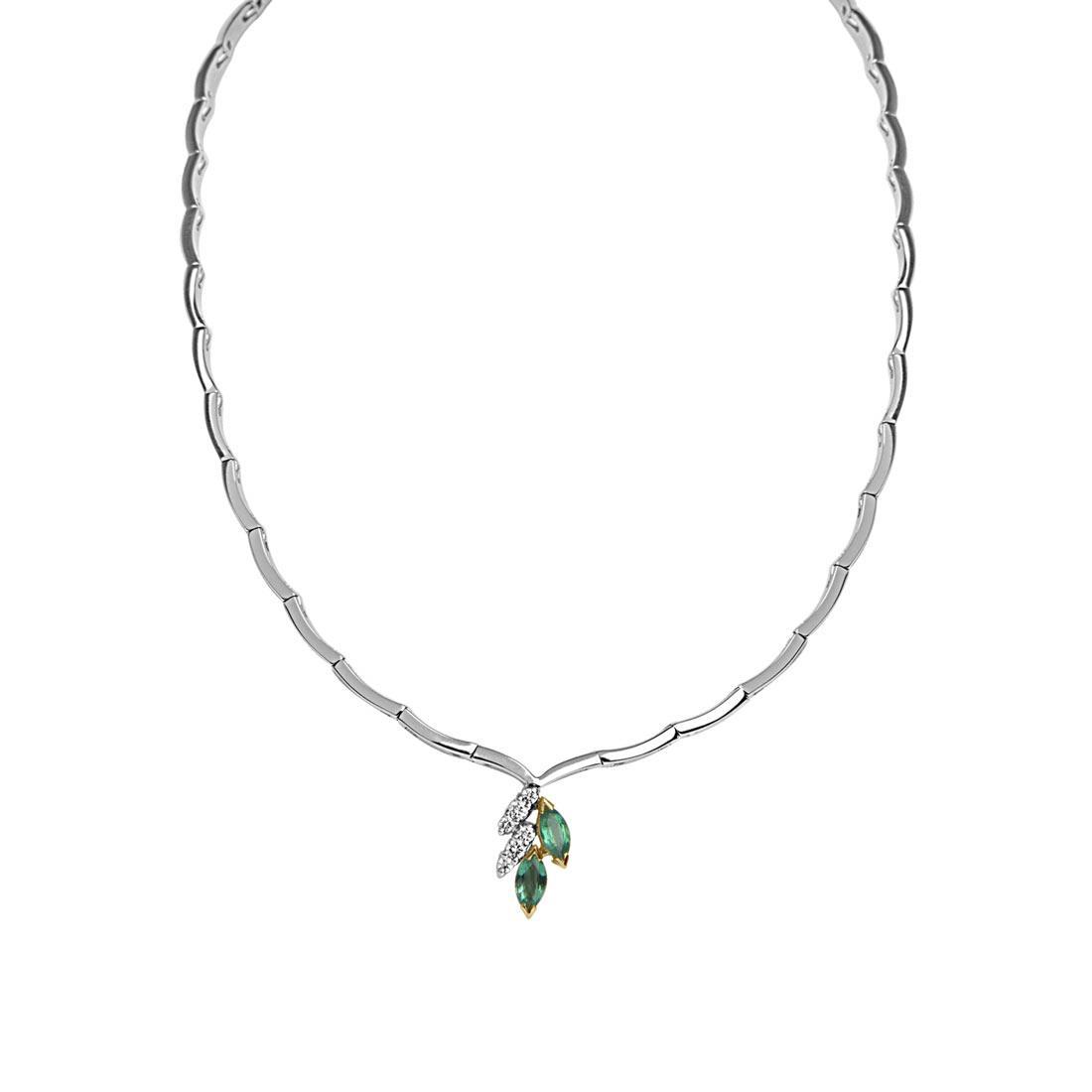 Collana in oro bianco con diamanti ct 0.20 e smeraldi ct 0.66 - ORO&CO