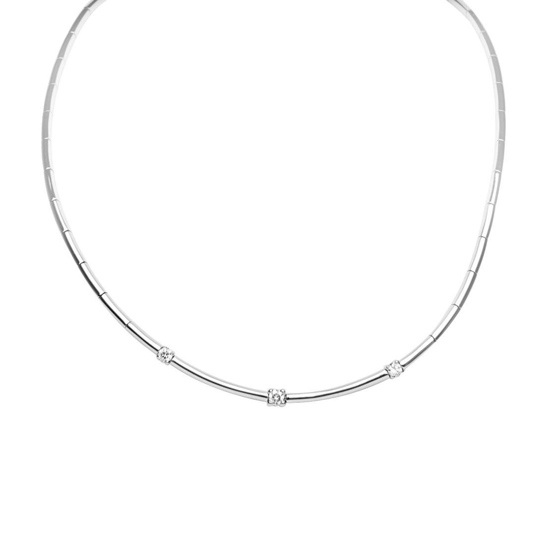 Collana in oro bianco con diamanti ct 0.50 - ORO&CO