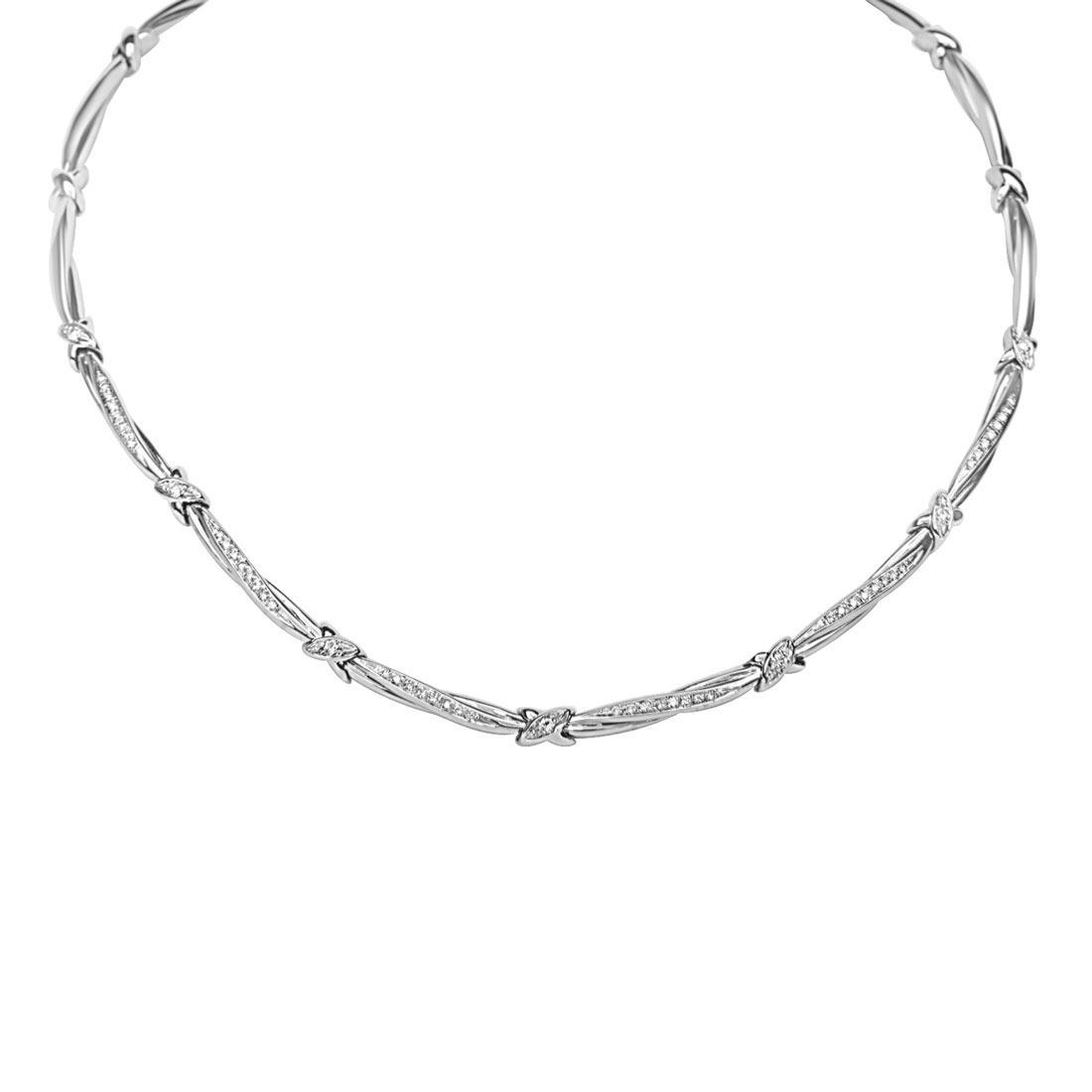 Collana in oro bianco con diamanti ct 0.51 - ORO&CO