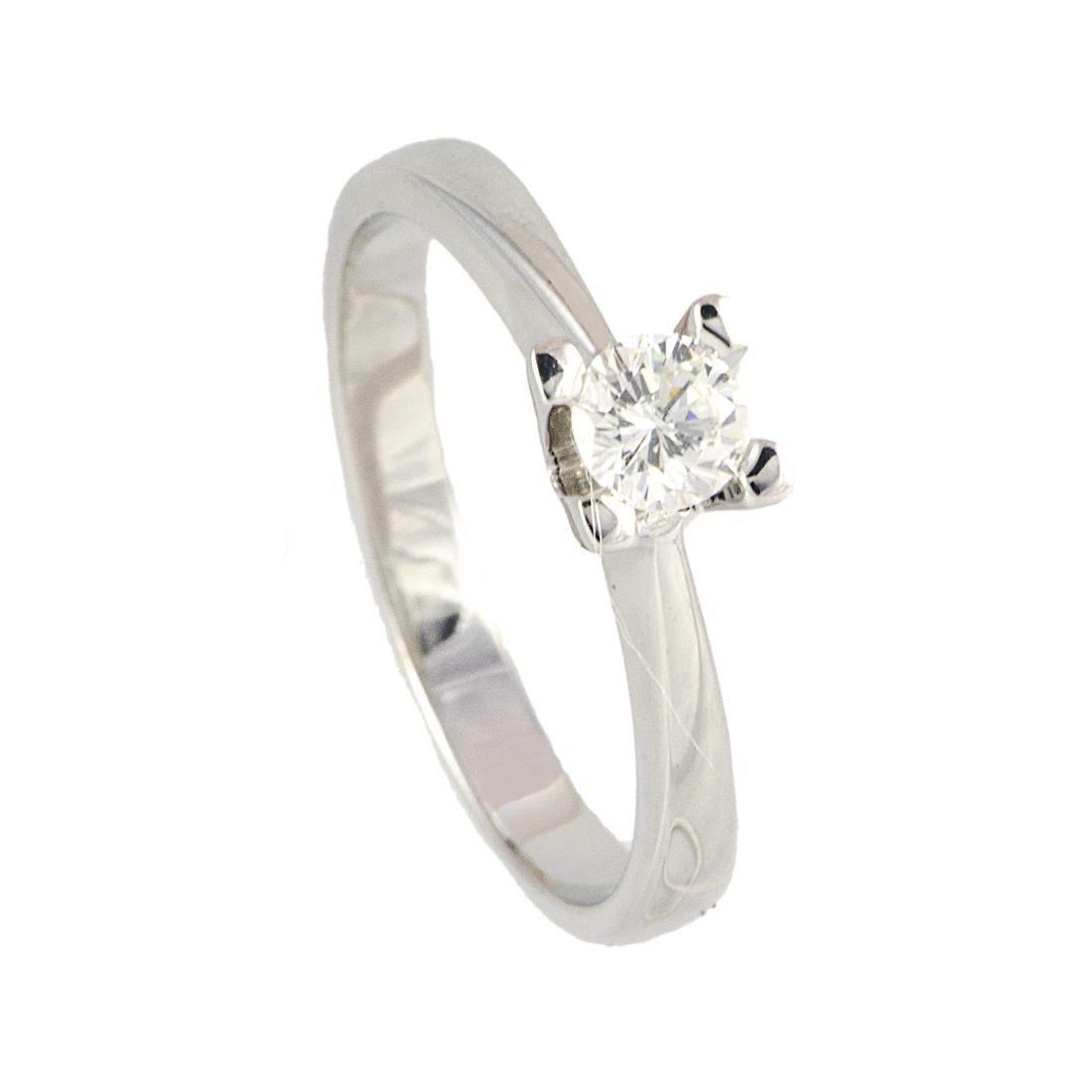 Anello solitario in oro bianco con diamante 0.30 ct mis 13 - ALFIERI ST JOHN