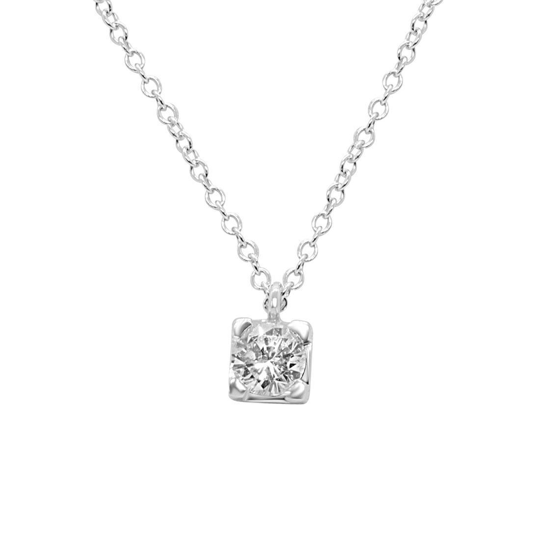 Collana punto luce Alfieri & St. John  in oro bianco e diamante 0.30 ct, lunghezza 42 cm - ALFIERI ST JOHN