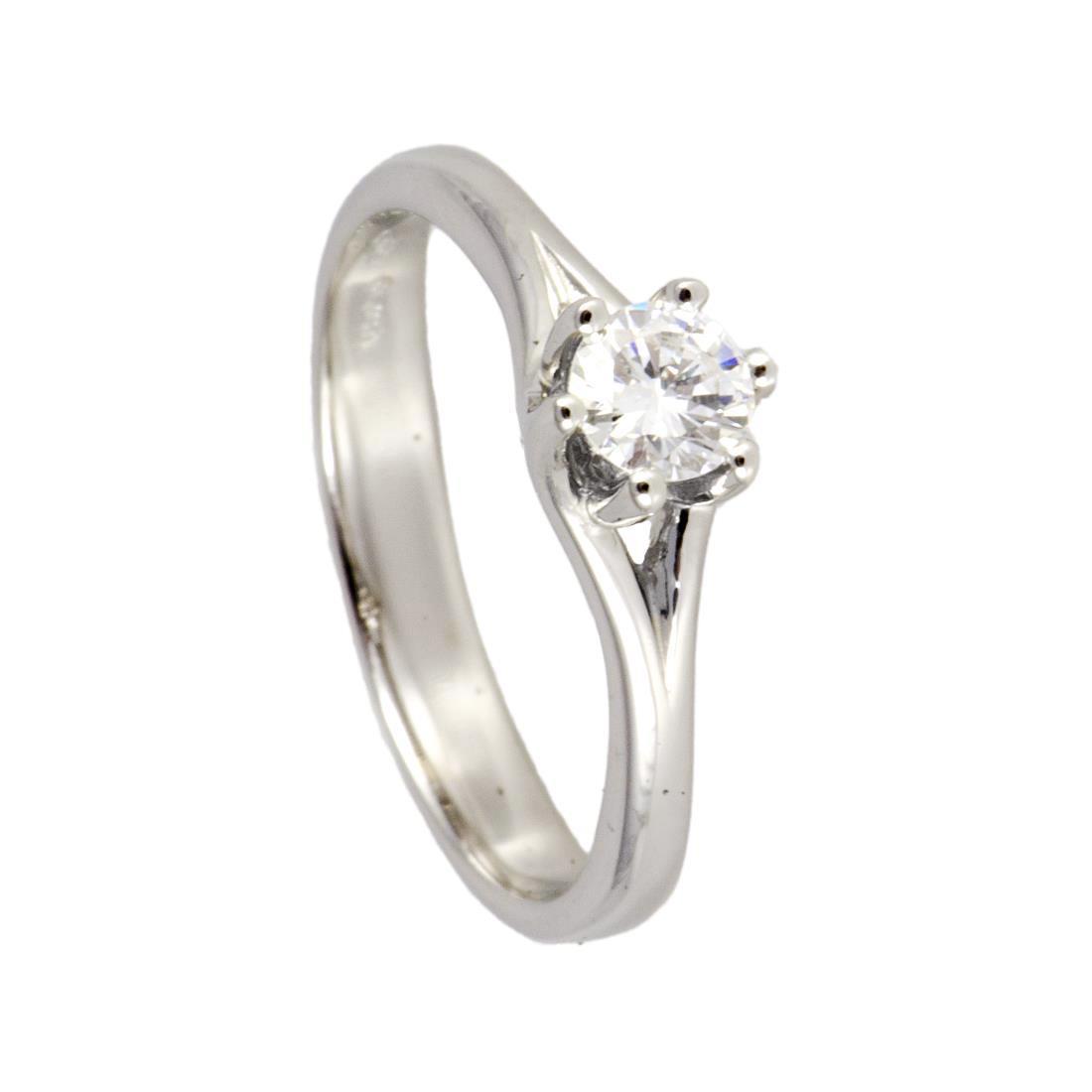 Anello solitario in oro bianco e diamanti ct 0.40, misura 13 - ORO&CO