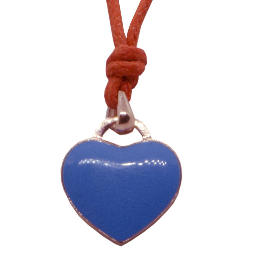 Collier cordino arancio con ciondolo cuore in oro rosa 9kt e smalto blu - ALFIERI ST JOHN