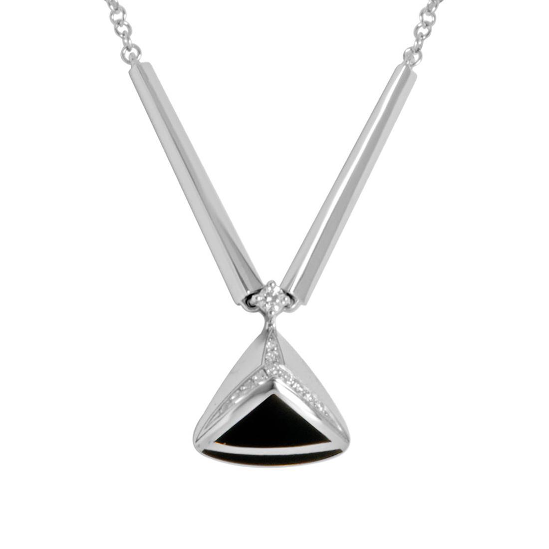 Collana in argento rodiato con smalto nero e zirconi - ALFIERI & ST. JOHN 925