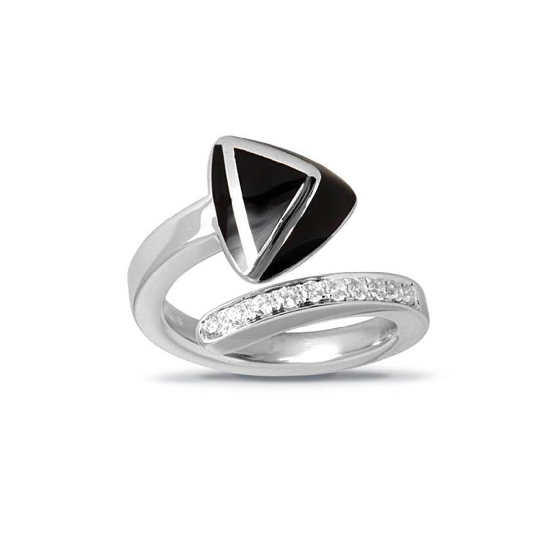Anello in argento rodiato con smalto nero e zirconi - ALFIERI & ST. JOHN 925