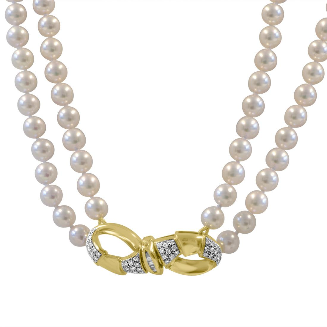 Collana con perle Akoya e diamanti  - ORO&CO