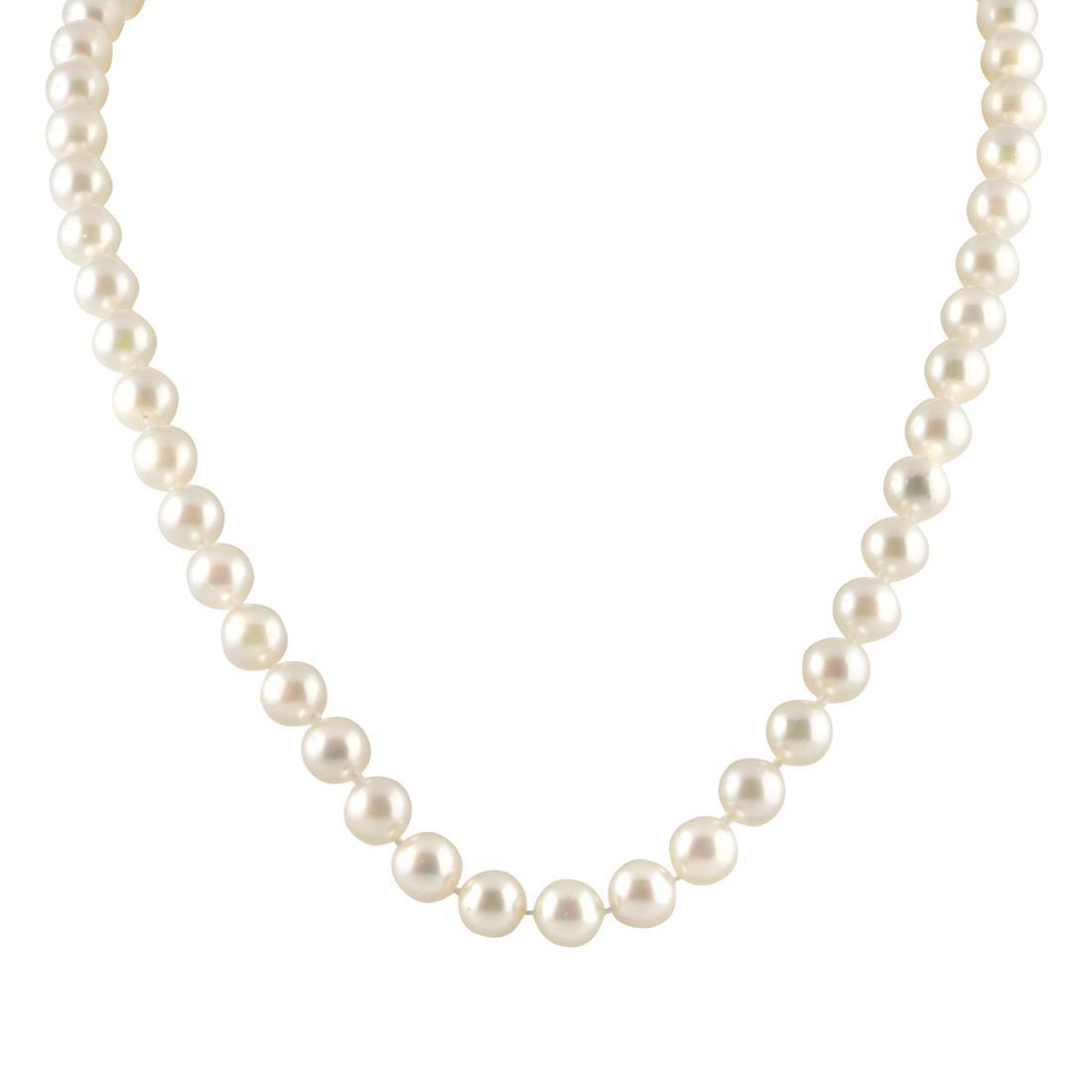 Collana di perle Akoya Giapponesi 6,5-7 mm, lunghezza 46 cm - ORO&CO