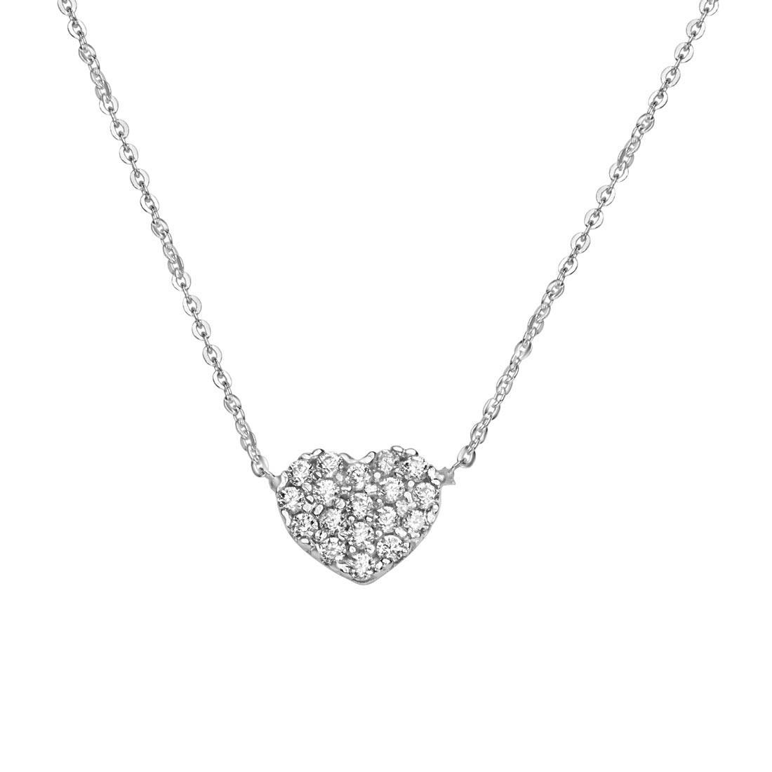 Collana  in oro bianco  a forma di cuore con zirconi - ORO&CO