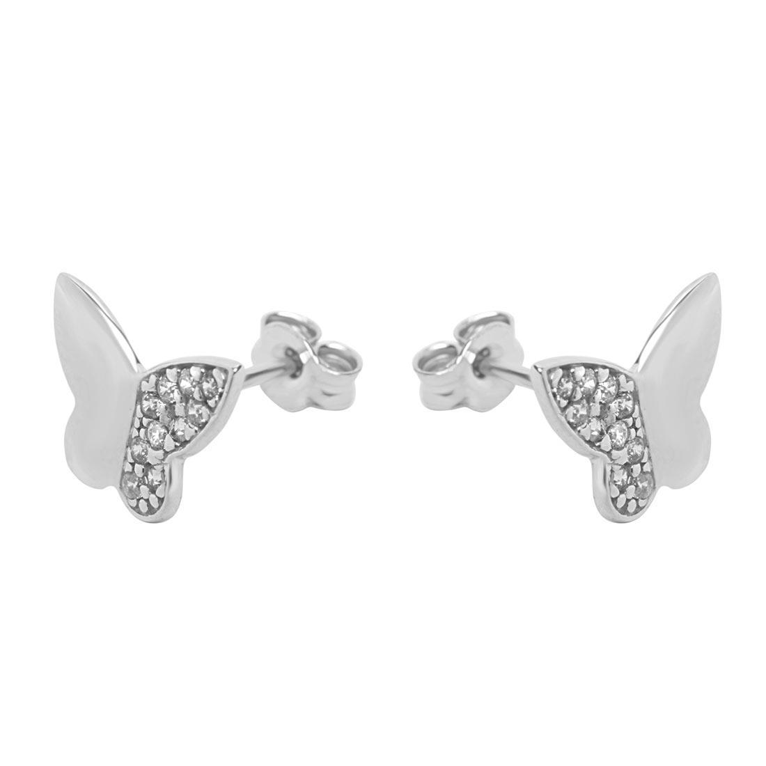 Orecchini  in oro bianco a forma di farfalla con zirconi - ORO&CO