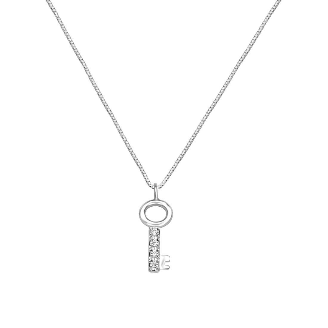 Collana in oro bianco con pendente chiave - ORO&CO
