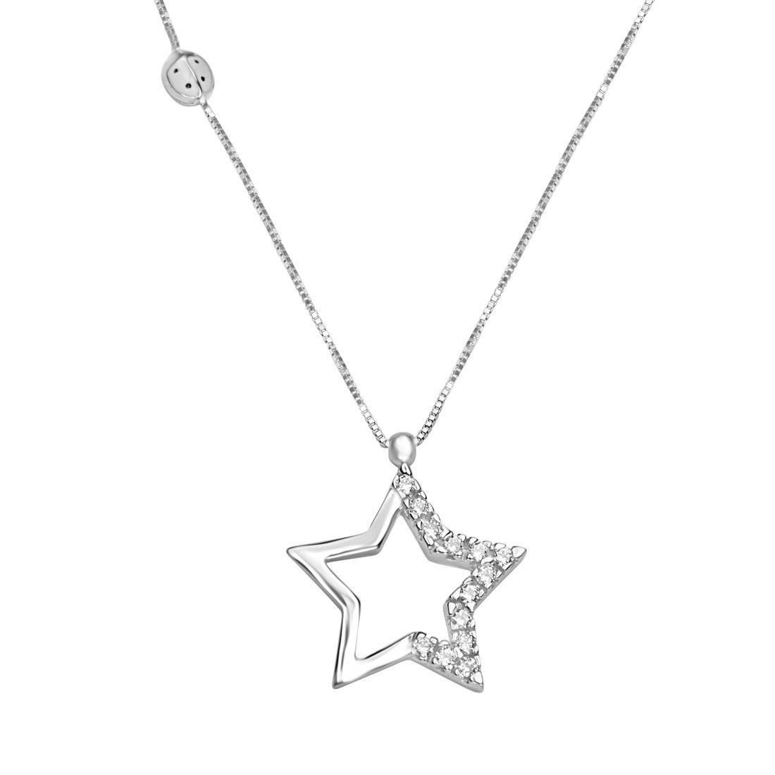 Collana  in oro bianco con zirconi con pendente stella - ORO&CO