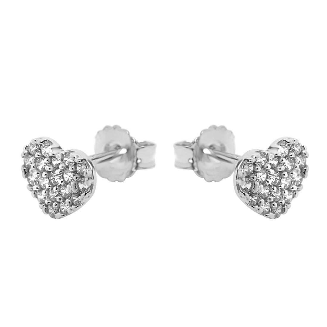 Orecchini in oro bianco con zirconi a forma di cuore - ORO&CO