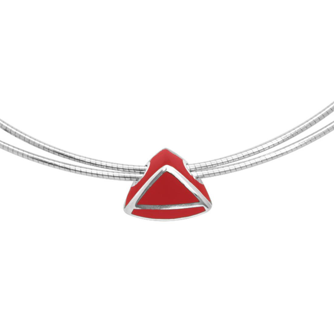 Sterling silver cable necklace with  red enamel - ALFIERI & ST. JOHN 925