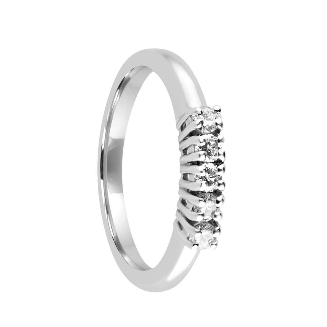 Anello veretta 5 pietre in oro bianco con diamanti mis 14 - ALFIERI & ST. JOHN