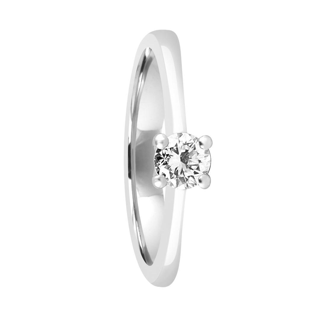 Anello solitario in oro bianco con diamanti mis 15 - ALFIERI & ST.JOHN
