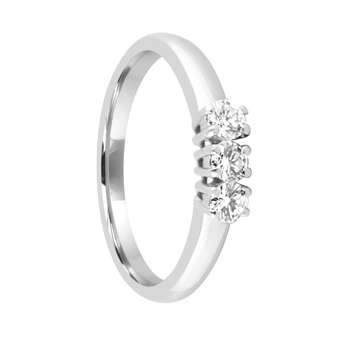 Anello trilogy in oro bianco con diamanti mis 14 - ALFIERI & ST.JOHN