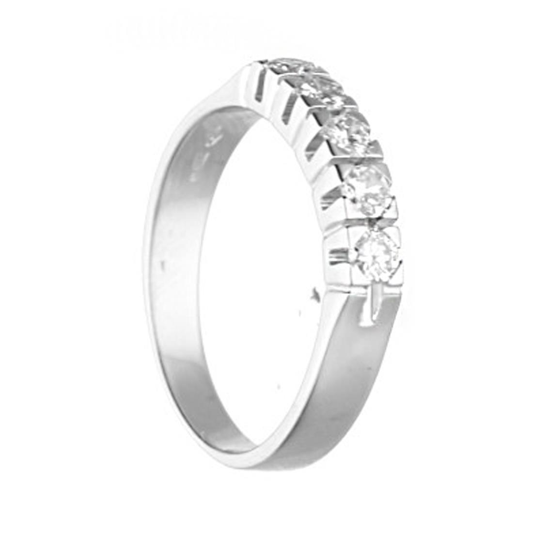 Anello veretta in oro bianco, diamanti ct. 0,40 - ORO&CO