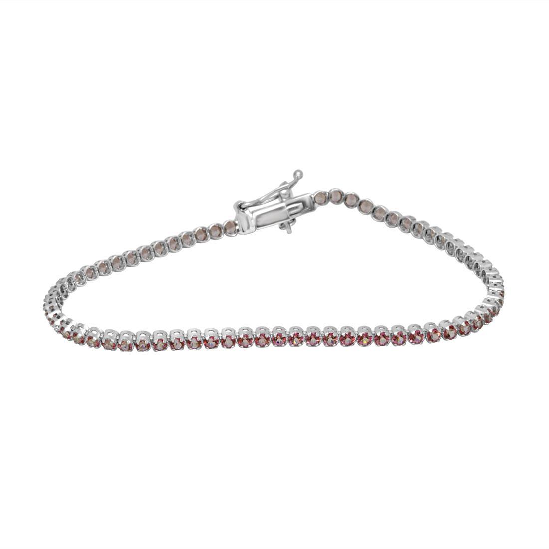 Bracciale Oro&Co in oro bianco con topazio rosa e diamanti - ORO&CO