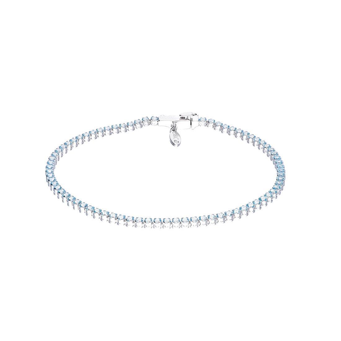 Bracciale Tennis Oro & Co in oro bianco e topazio azzurro con diamante ct 0,05 - ORO&CO