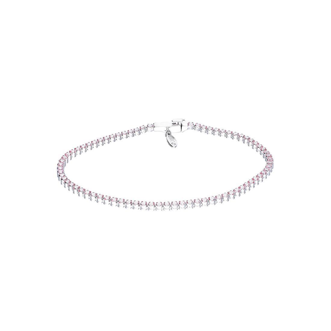 Bracciale Tenni Oro & Co in oro bianco e topazio rosa con diamante ct 0,05 - ORO&CO
