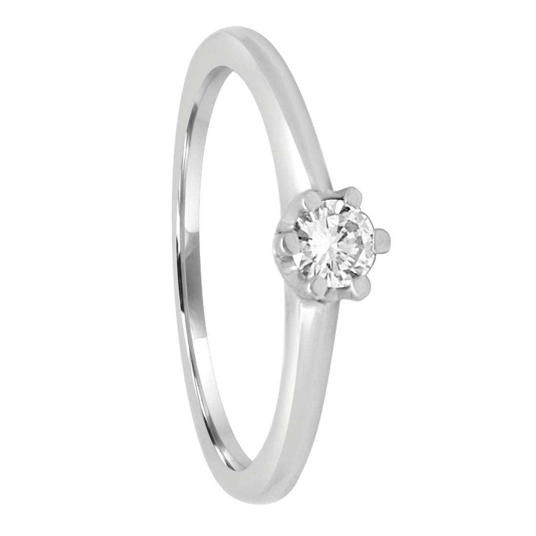 Anello in oro bianco 6 griffes con diamante ct 0.20, misura 14 - ORO&CO