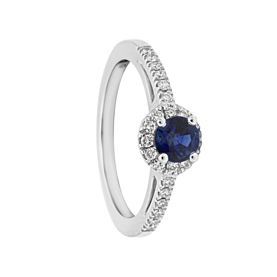 Anello in oro bianco con diamanti e zaffiro mis 13 - ORO&CO