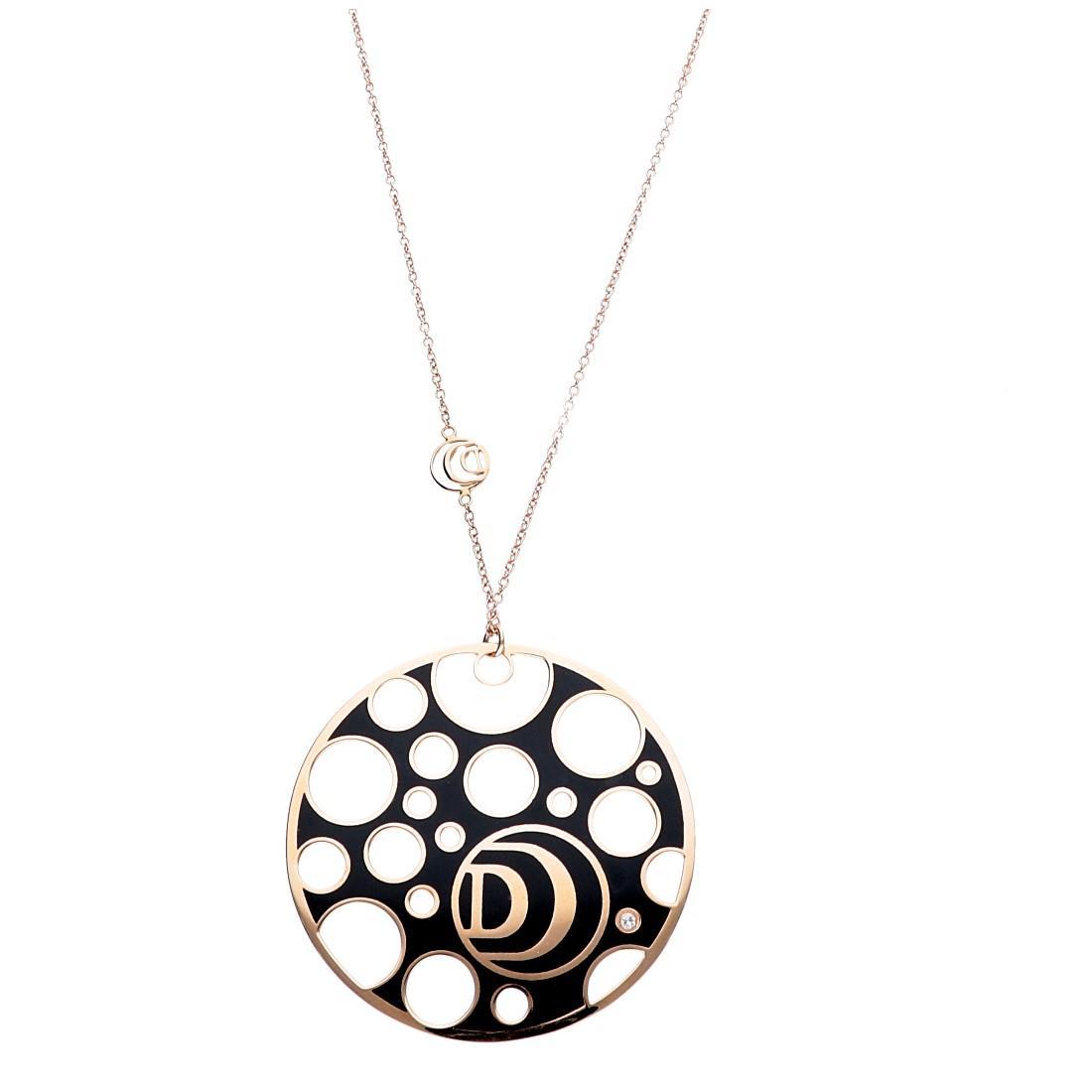 Collana in oro rosa con diamante e ceramica bianca - DAMIANI