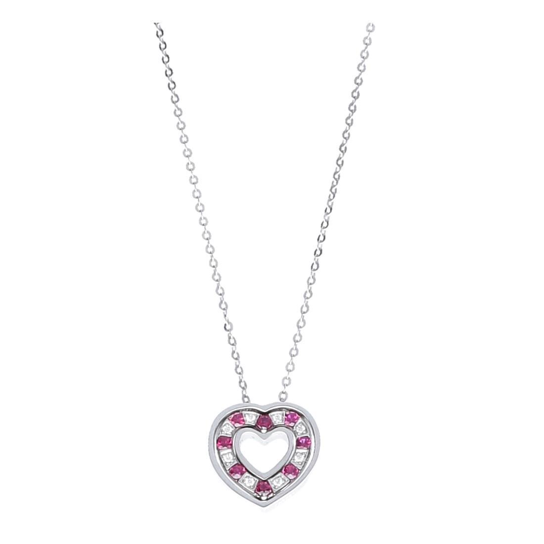 Collana in oro bianco con diamanti e rubini - DAMIANI