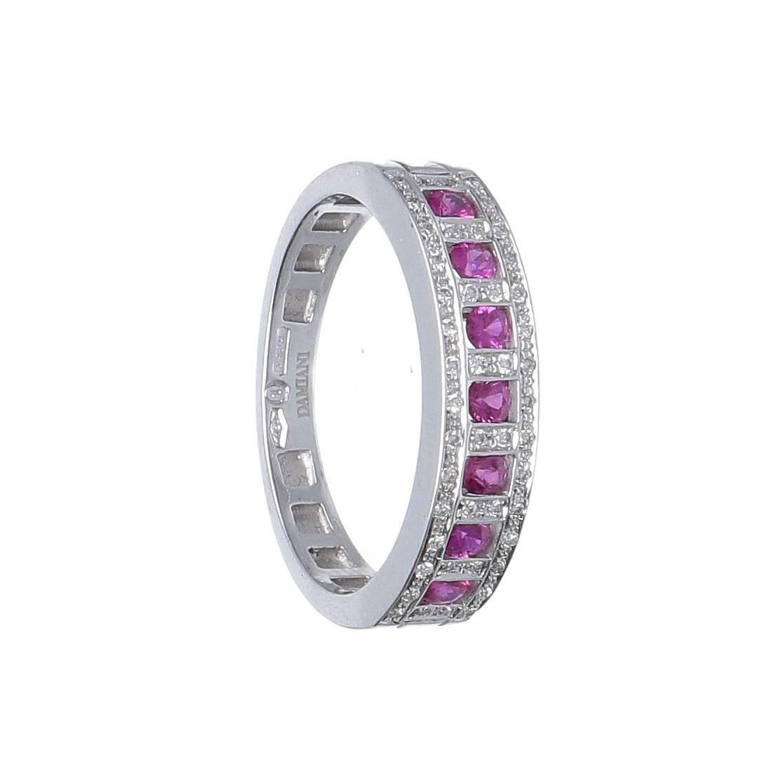 Anello in oro bianco con diamanti e rubini - DAMIANI