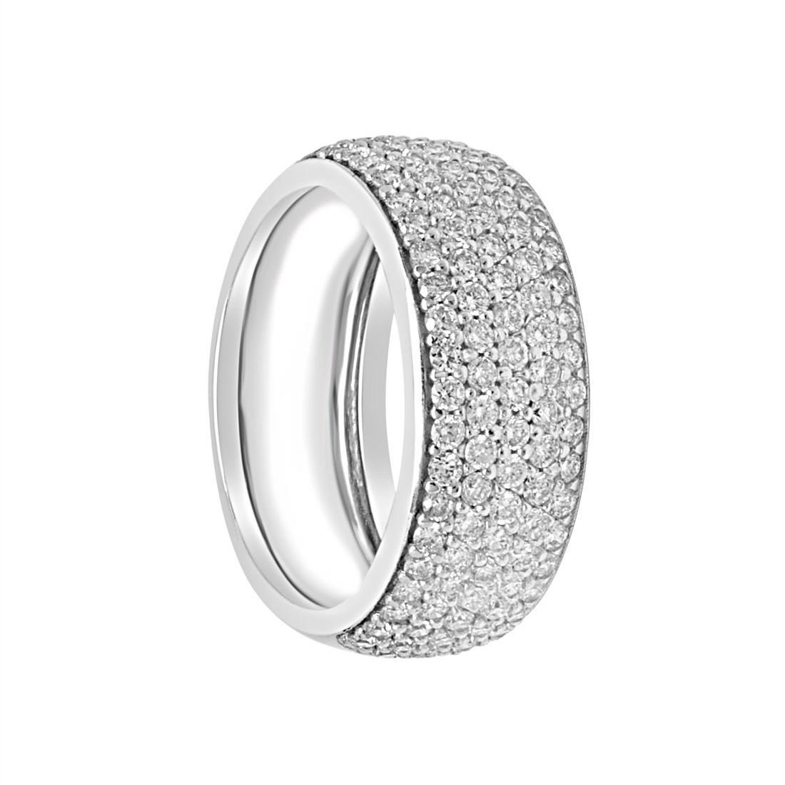 Anello in oro bianco e diamanti ct 1.30 colore G, purezza SI, misura 14 - ALFIERI & ST.JOHN