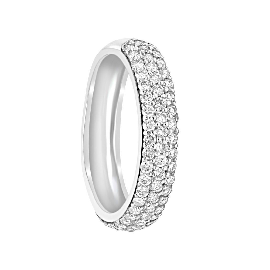 Anello in oro bianco con diamanti ct 0.80, misura 15,5 - ALFIERI & ST.JOHN