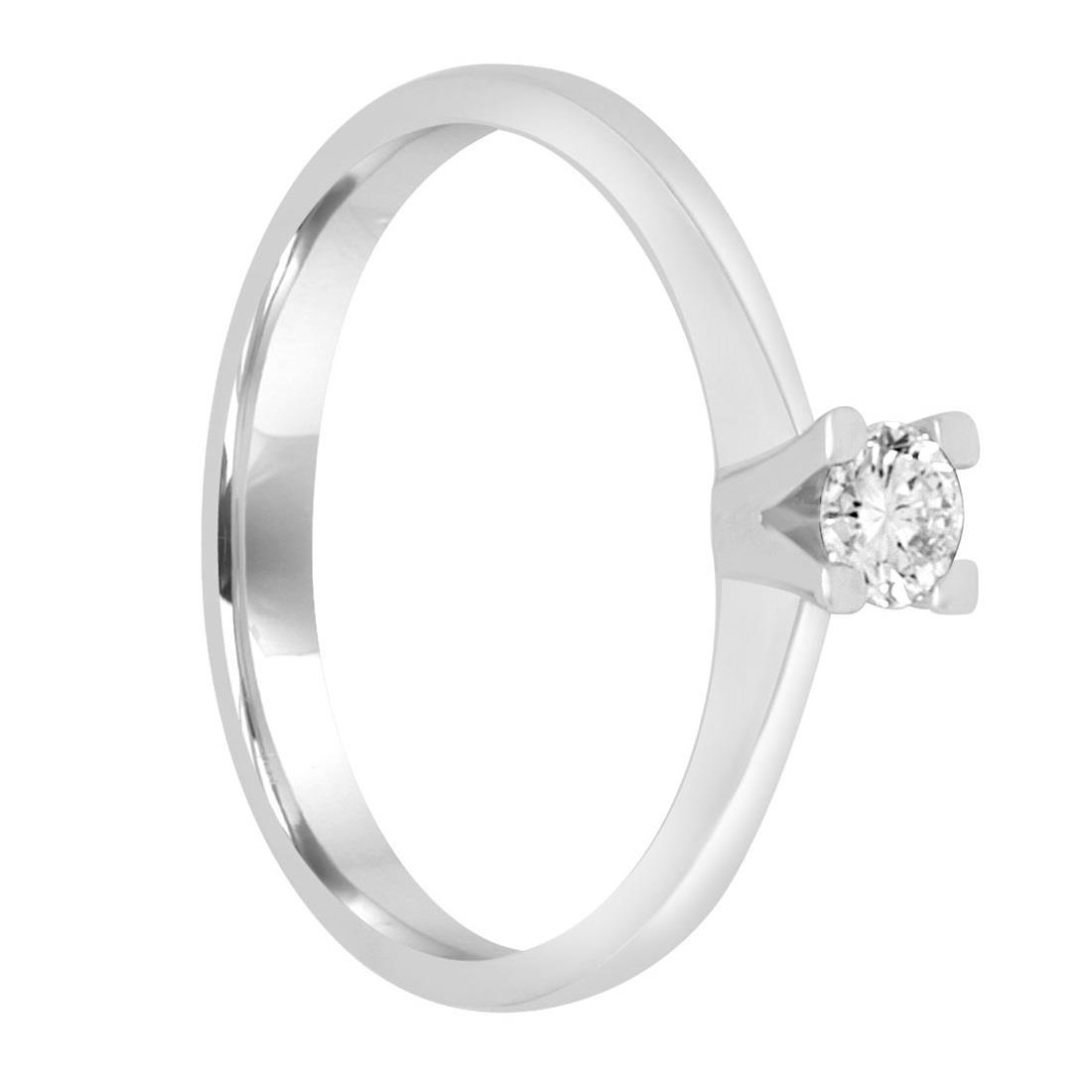 Anello solitario in oro bianco con diamante ct. 0,20 misura 14 - ALFIERI & ST.JOHN