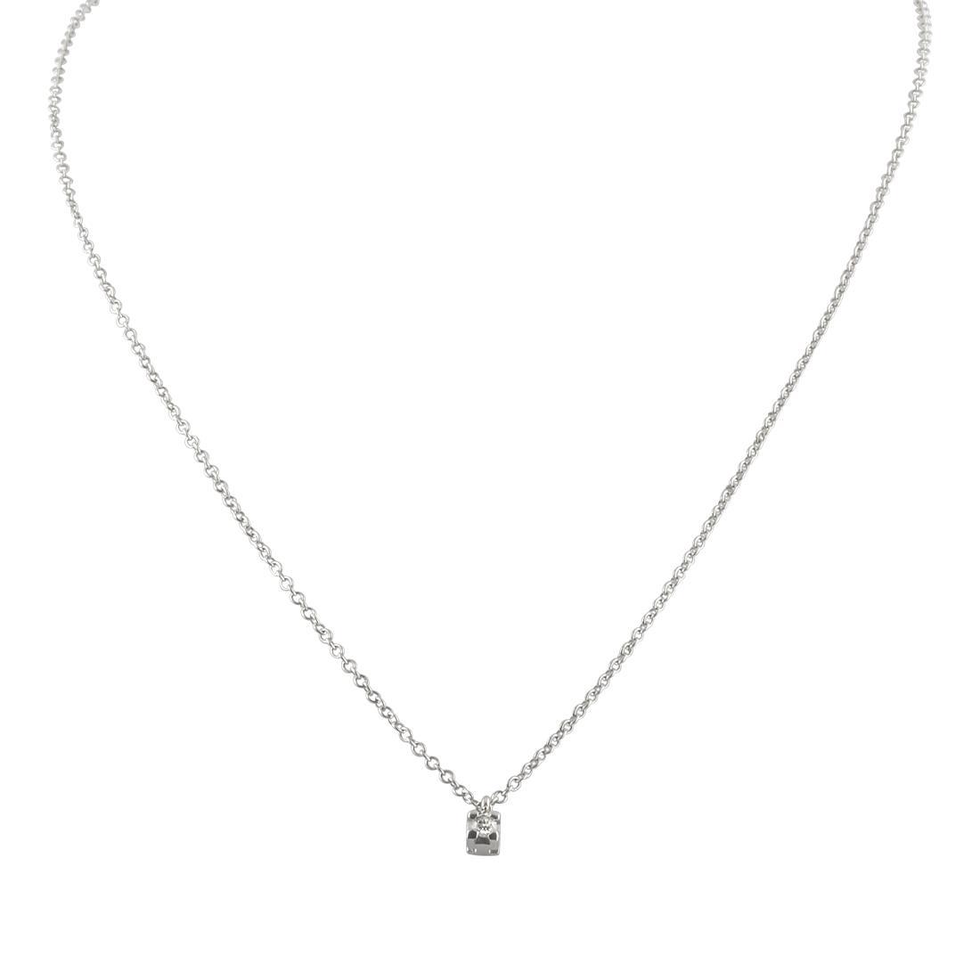 Collana punto luce con diamante ct 0.04, lunghezza 42 cm - ORO&CO