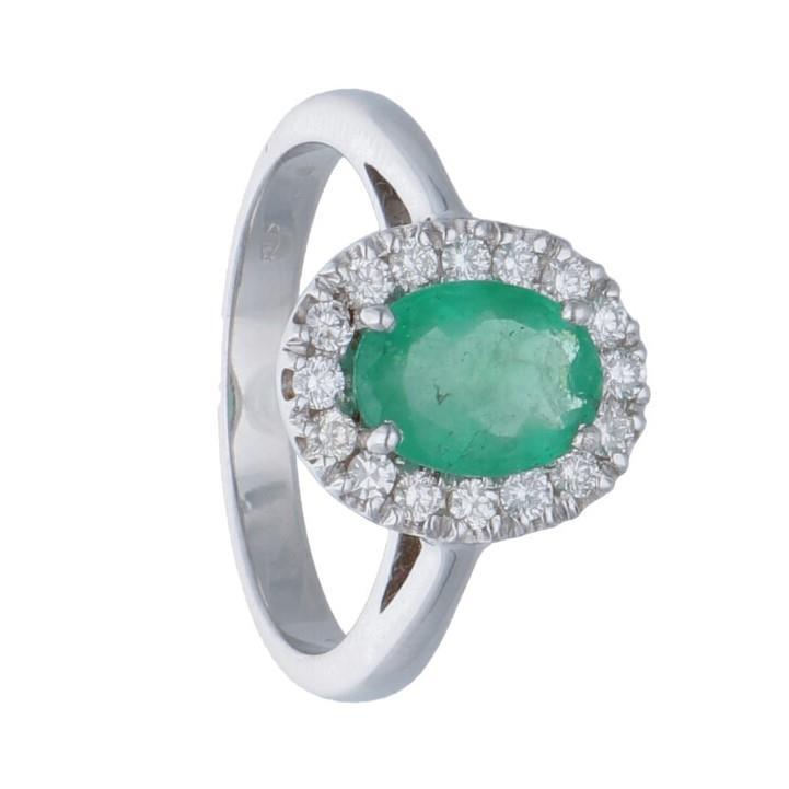 Anello in oro bianco con diamanti e smeraldo ct.  - ORO&CO