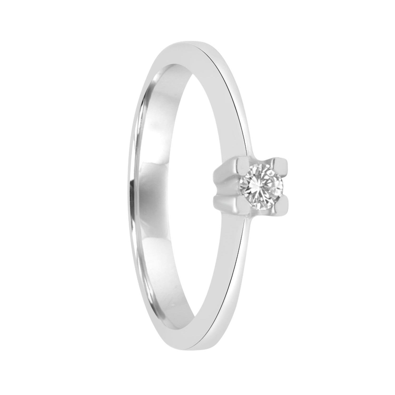Anello solitario in oro bianco con diamante ct 0.07 - ORO&CO