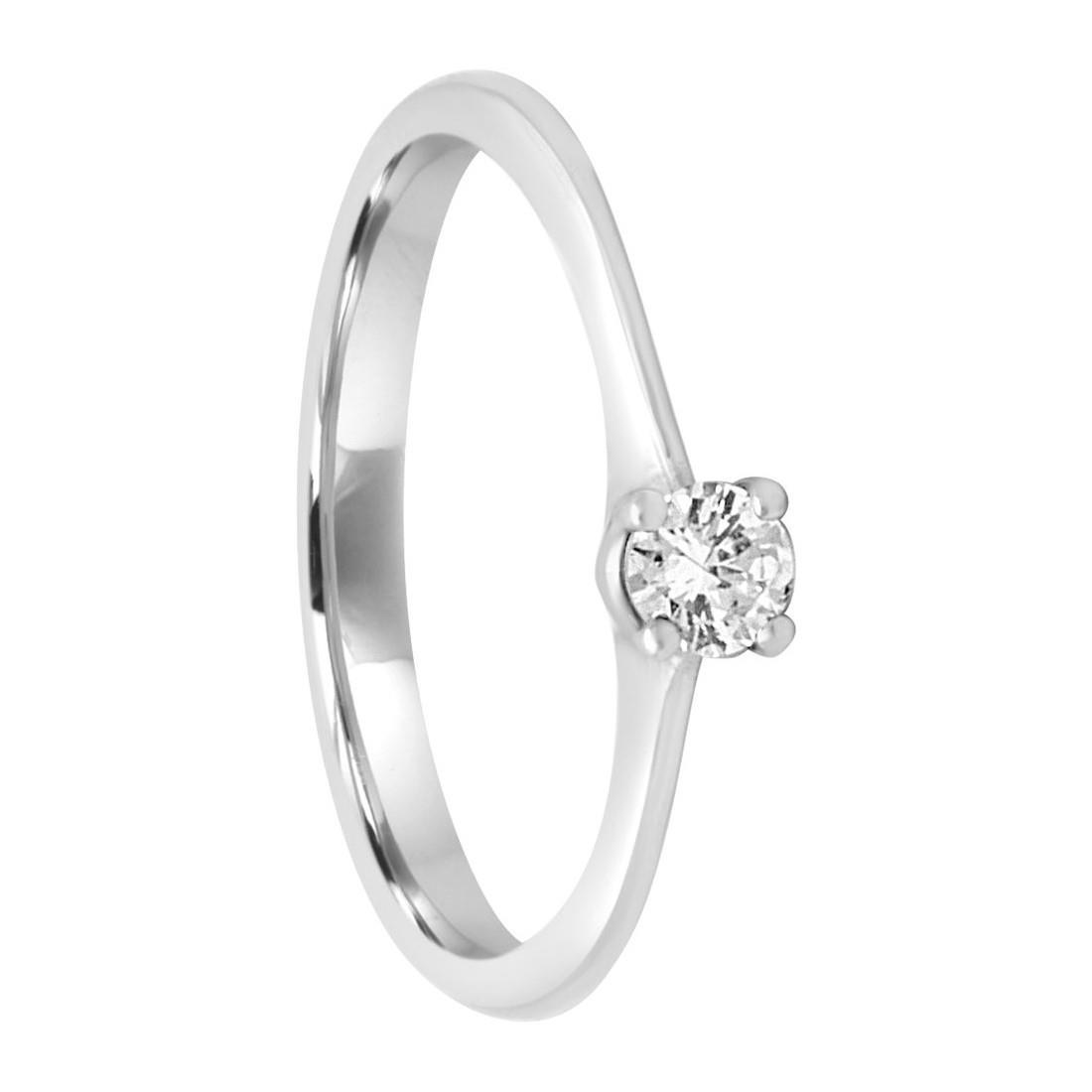 Anello in oro bianco con diamante ct 0.16, misura 14 - ORO&CO