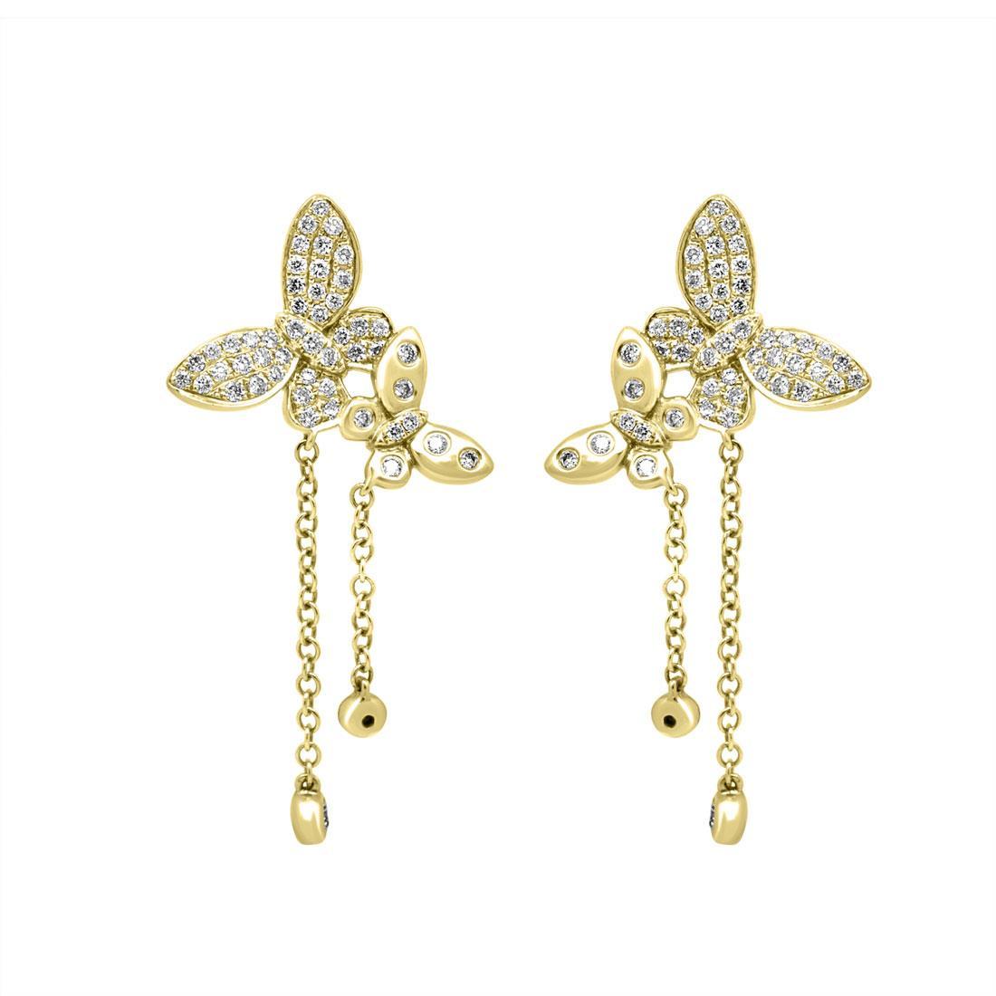Orecchini a farfalla in oro giallo con diamanti - ORO&CO
